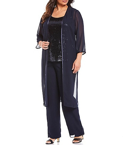 Le Bos Plus Size Sequin 3-Piece Georgette Duster Pant Set