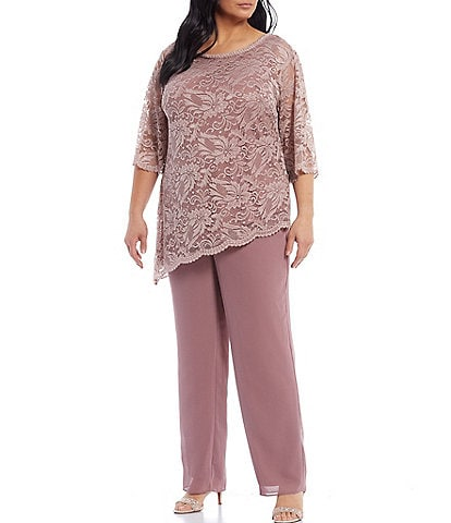 Le Bos Plus Size Stretch Lace 2-Piece Pant Set