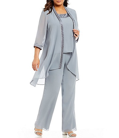 Le Bos Plus Textured 3-Piece Pant Set