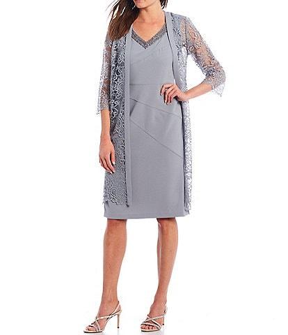 Le Bos Scalloped Lace V-Neck 3/4 Sleeve Jacket Dress