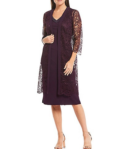 Le Bos Scalloped Lace 3/4 Sleeve Jacket Dress