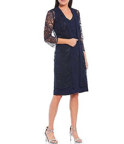 Le Bos Scalloped Lace 3/4 Sleeve Jacket Dress