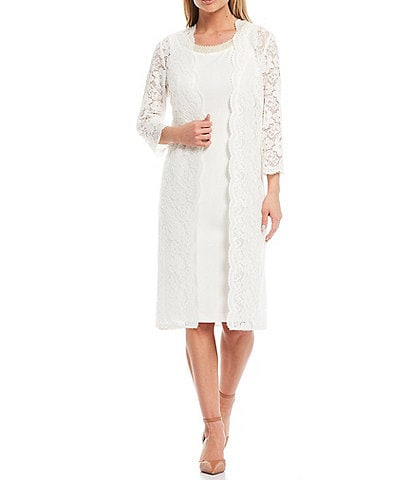 Le Bos Scalloped Stretch Lace 2 Piece Duster Jacket Dress