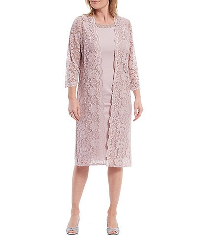 Le Bos Scalloped Stretch Lace 2 Piece Floral Duster Jacket Dress