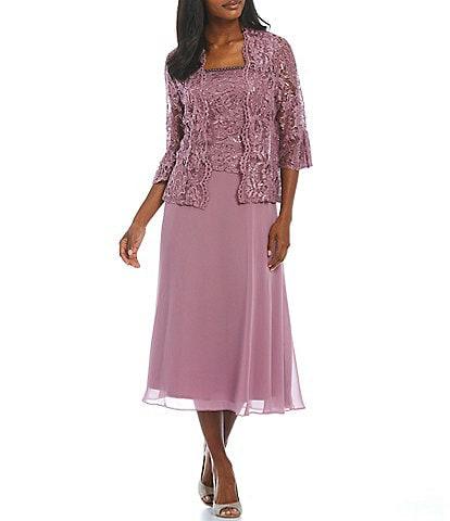 Le Bos Sequined Lace Tea Length 2-Piece Jacket Dress