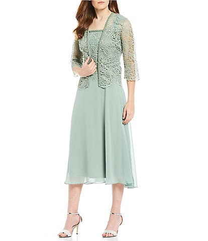 Le Bos Two Piece 3/4 Sleeve Lace & Chiffon Tea Length Jacket Dress Set