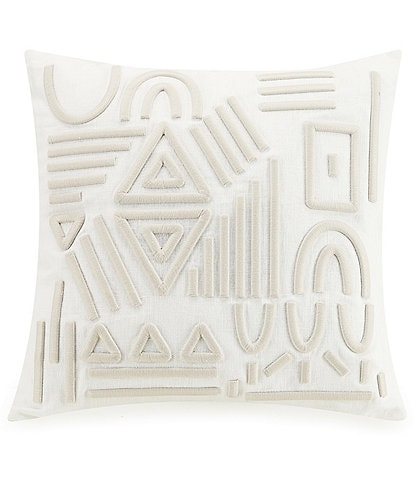 LEMIEUX ET CIE Jute Embroidered Pillow