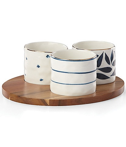 Lenox Blu Bay Assorted Snack Bowls and Wood Tray Set