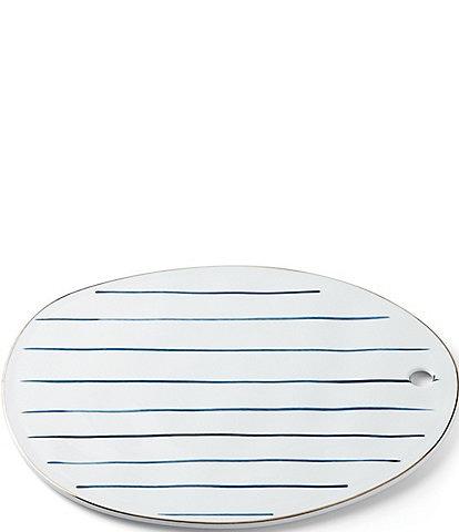 Lenox Blue Bay Stripe Oblong Tray