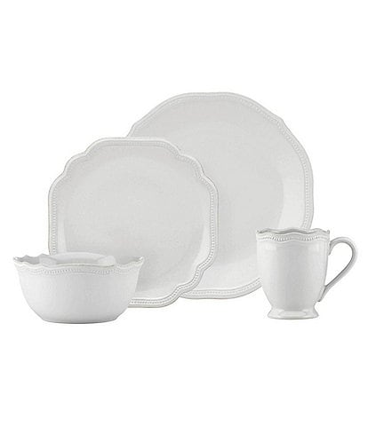 Lenox French Perle Bead Scalloped Stoneware 4-Piece Place Setting
