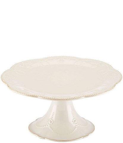 Lenox French Perle Scalloped Stoneware Pedestal Cake Plate
