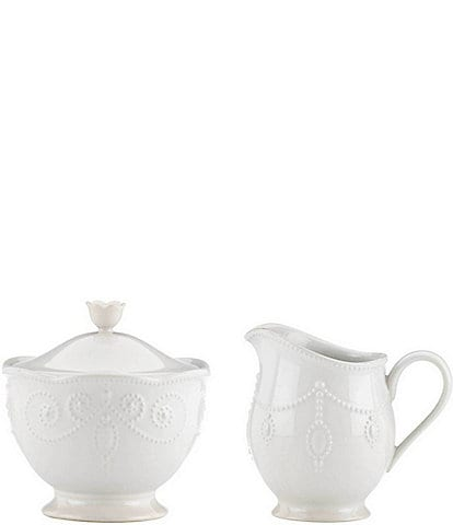Lenox French Perle Scalloped Stoneware Sugar & Creamer Set