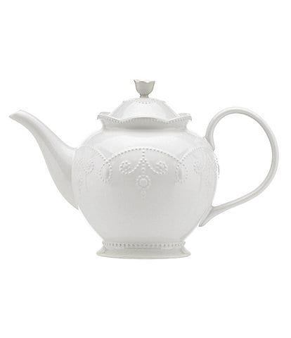 Lenox French Perle Scalloped Stoneware Teapot