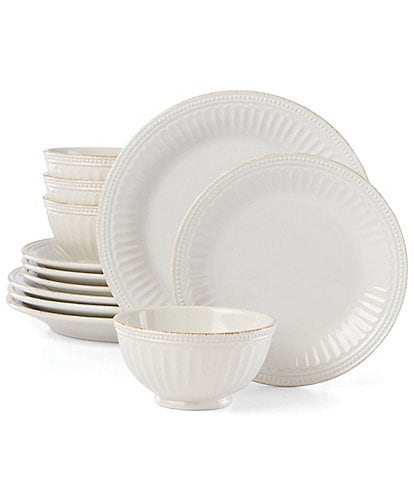 Lenox French Perle Groove White 12-Piece Plate & Bowl Set