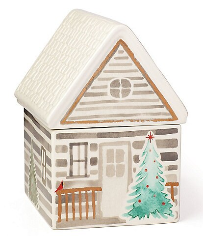 Lenox Holiday Balsam Lane Cabin Cookie Jar