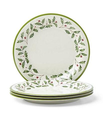Lenox Holiday Holly Melamine Set of 4 Dinner Plates