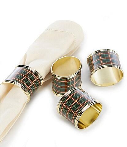 Lenox Holiday Nouveau Plaid Napkin Rings, Set of 4