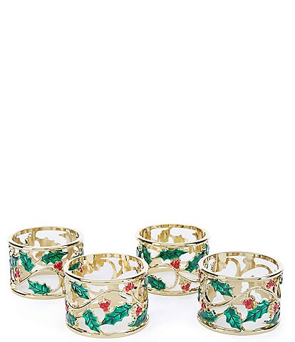 Lenox Holly & Berries Napkin Rings, Set of 4