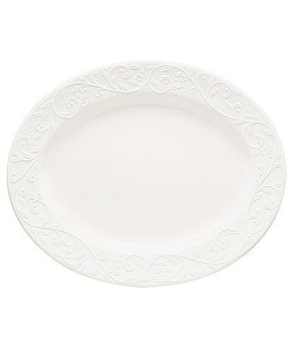 Lenox Opal Innocence Carved Scroll Porcelain Oval Platter