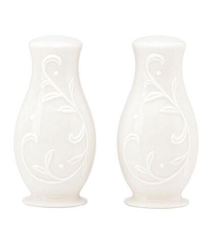 Lenox Opal Innocence Carved Vine Porcelain Salt & Pepper Shaker Set