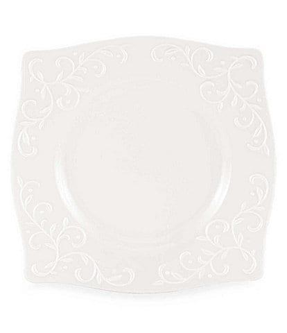 Lenox Opal Innocence Carved Vine Porcelain Square Accent Salad Plate