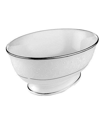 Lenox Opal Innocence Vine & Pearl Platinum Opalescent Bone China Oval Vegetable Bowl