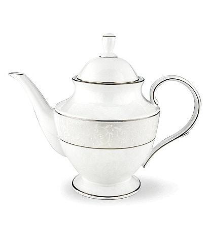 Lenox Opal Innocence Vine & Pearl Platinum Opalescent Bone China Teapot