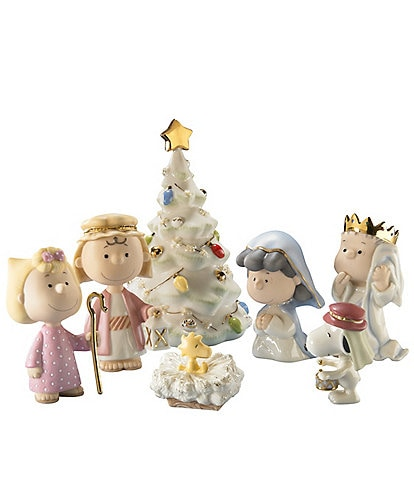 Lenox Peanuts Collectibles Charlie Brown 7-Piece Christmas Pageant Figurine Set