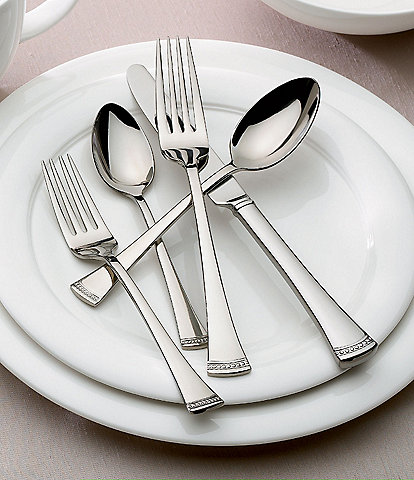 Lenox Portola Modern Sculpted 65-Piece Stainless Steel Flatware Set