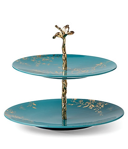 Lenox Sprig & Vine Two Tiered Server, Turquoise