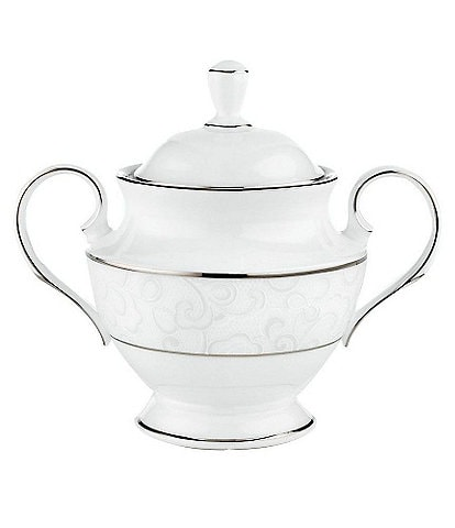 Lenox Venetian Lace Floral Platinum Bone China Sugar Bowl