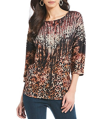 Leo & Nicole Petite Size Animal Print Knit 3/4 Sleeve Top