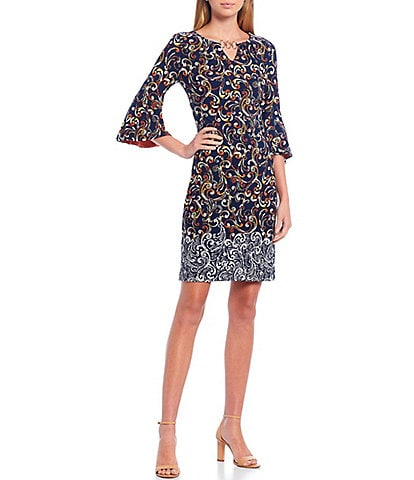 Leslie Fay 3/4 Flounce Sleeve 3 Ring Keyhole Neck Printed Sheath Dress