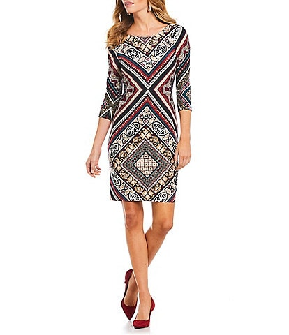 Leslie Fay 3/4 Sleeve Placement Print Sheath Dress