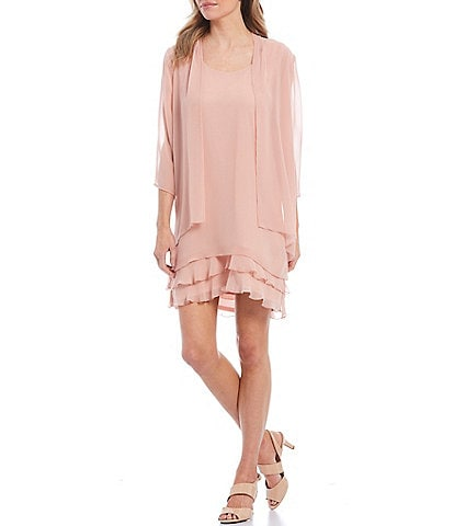 Leslie Fay Cascading Tiered Chiffon Jacket Dress
