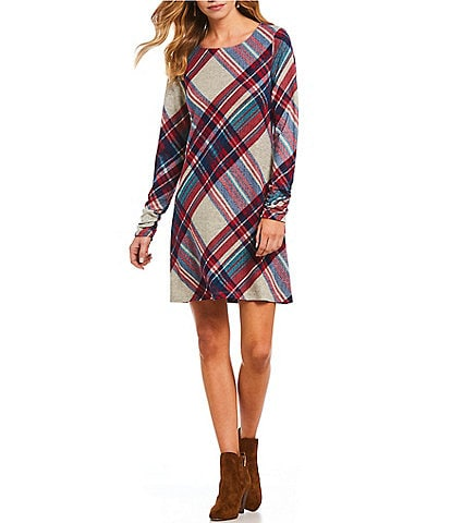 Leslie Fay Long Gathered Sleeve Plaid Shift Dress