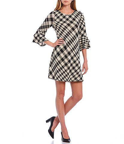 Leslie Fay Double Flounce 3/4 Sleeve Plaid Shift Dress