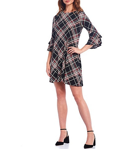 Leslie Fay Double Flounce Sleeve Plaid Shift Dress