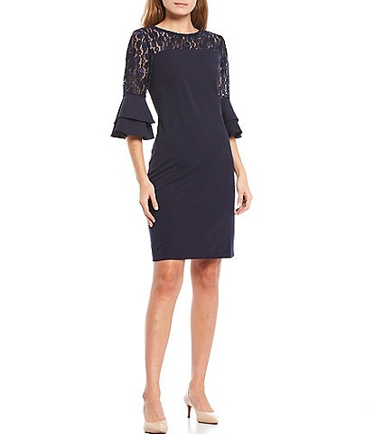 Leslie Fay Ruffle Sleeve Illusion Lace Sheath Dress