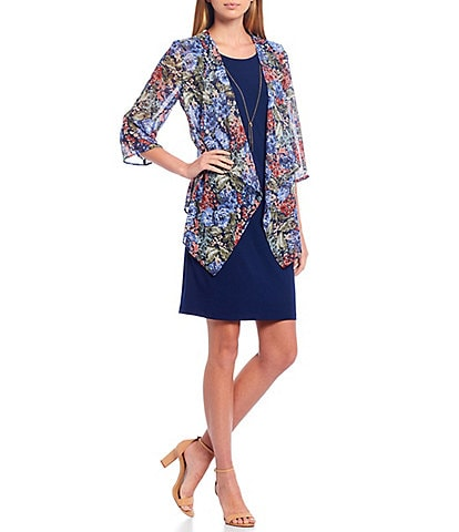 Leslie Fay Scoop Neck 3/4 Sleeve Cascade Front Dress with Necklace
