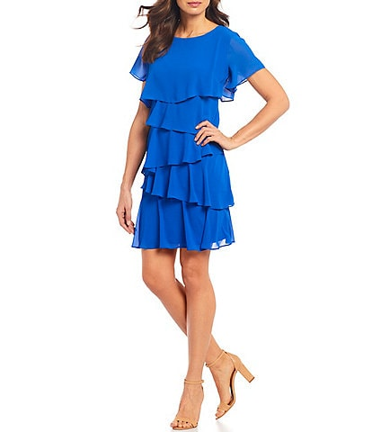 Leslie Fay Short Sleeve Ruffle Tiered Dress