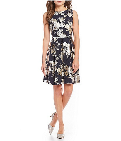 Leslie Fay Sleeveless Foiled Floral Print Belted A-Line Dress