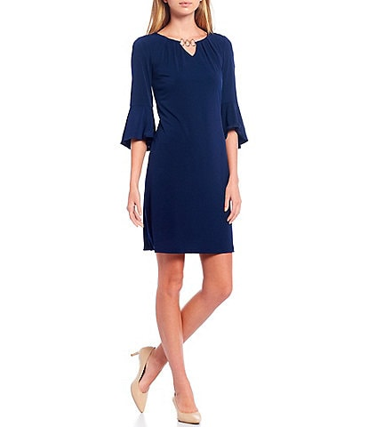 Leslie Fay Solid 3/4 Flounce Sleeve 3 Ring Neck Sheath Dress
