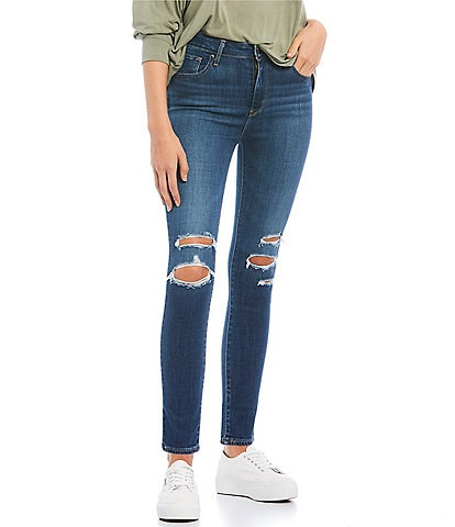 Levi's 721 Destructed High Rise Ankle Skinny Jeans