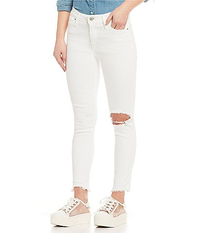 Levi's® 721 White High Rise Destructed Ankle Skinny Jeans