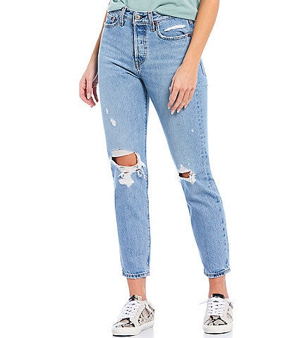 Levi's® Authentically Yours Wedgie Icon Fit High Rise Destruction Detailed Tapered Leg Jeans