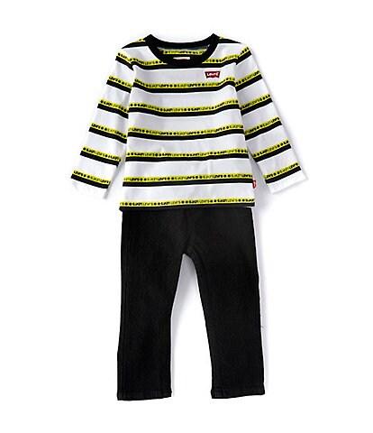 Levi's® Baby Boys 12-24 Months Long-Sleeve Striped Jersey Tee & Denim Jeans Set