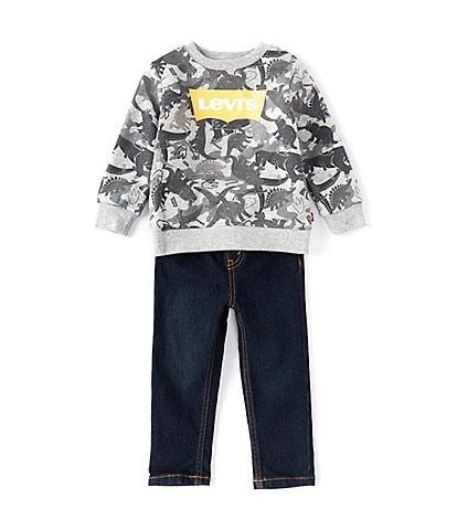 Levi's® Baby Boys 12-24 Months Printed Logo Fleece Tee & Denim Jeans Set