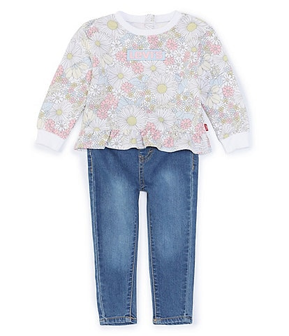 Levi's® Baby Girls 12-24 Months Long-Sleeve Floral Printed Peplum Baby French Terry Top & Denim Jeans Set