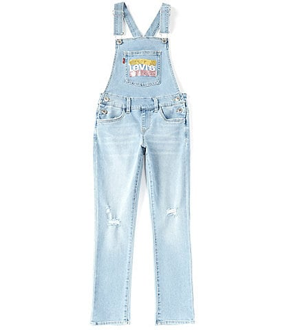 Levi's® Big Girls 7-16 Girlfriend Chest Pocket Sequin Detail Denim Overalls